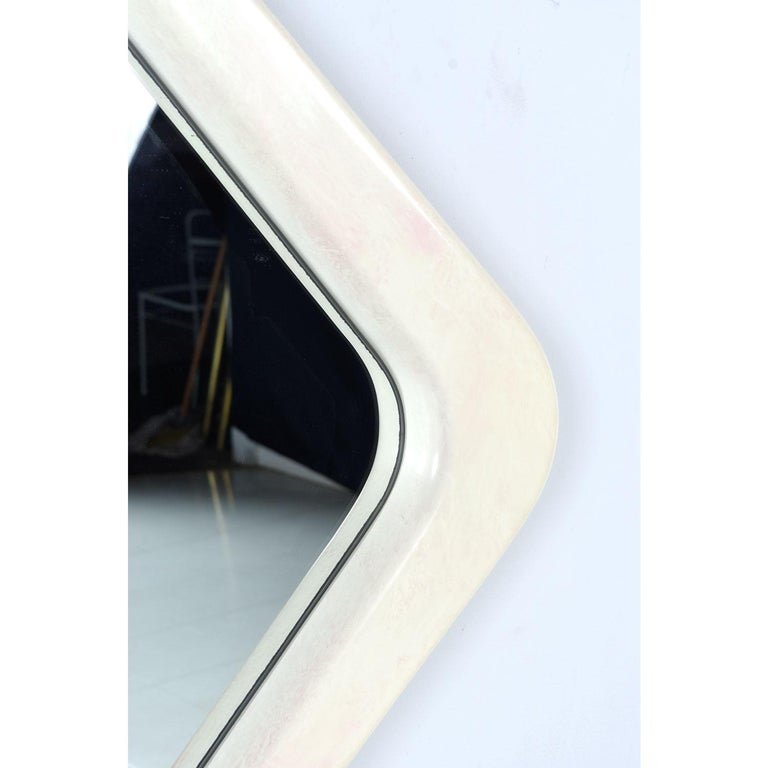 American White and Pink Lacquer Diamond Shape Memphis Style Modern Mirror For Sale