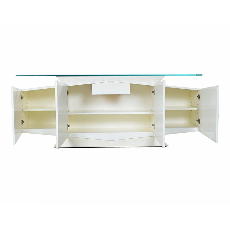 Mid-Century Modern White and Pink Lacquer Postmodern Memphis Style Glass Top Credenza For Sale