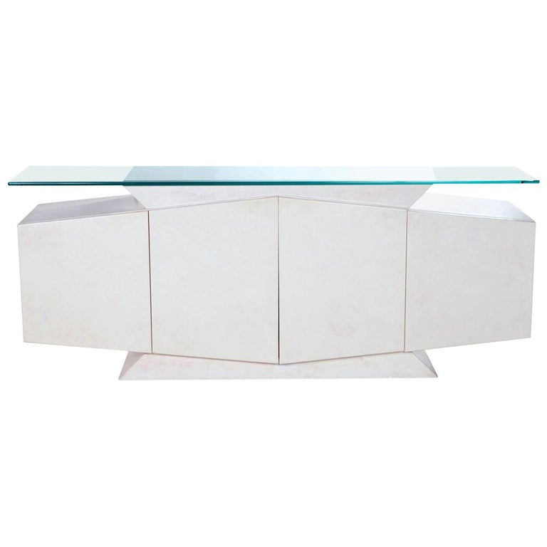 White and Pink Lacquer Postmodern Memphis Style Glass Top Credenza For Sale