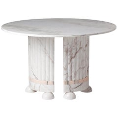 White and Pink Marble Dining Table by Dooq
