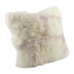 White and Pink Nursery Pillow Cushion Sheepskin, Made in Australia