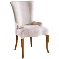 White and Pink Upholstered Armchair