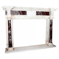 White and Red Alicante Marble Fireplace