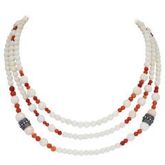 White and Red Coral Necklace