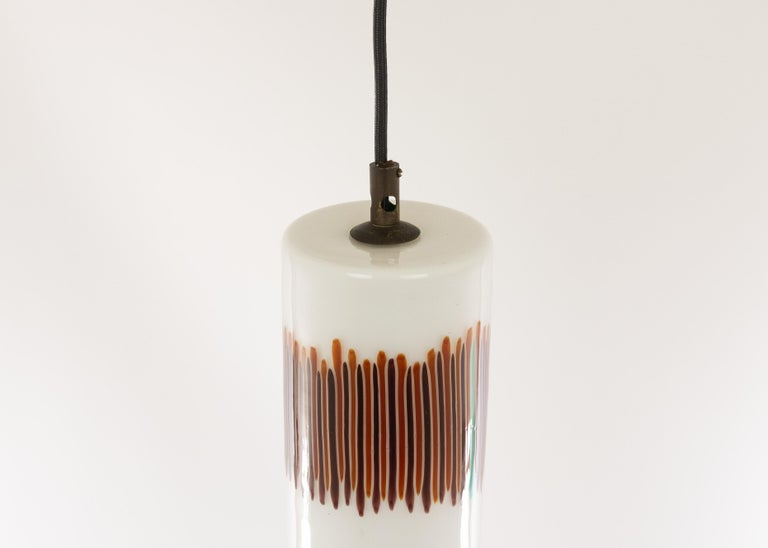 White and Red Glass Pendant by Massimo Vignelli for Venini, 1950s In Good Condition For Sale In Rotterdam, NL