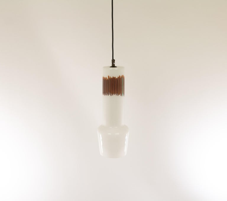 Mid-20th Century White and Red Glass Pendant by Massimo Vignelli for Venini, 1950s For Sale