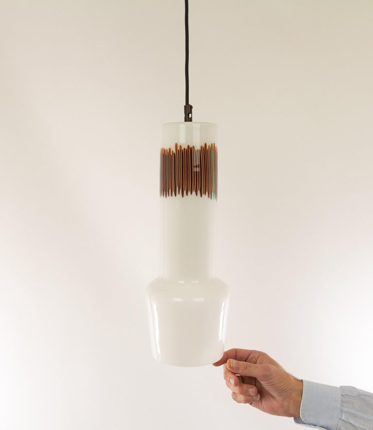 Brass White and Red Glass Pendant by Massimo Vignelli for Venini, 1950s For Sale