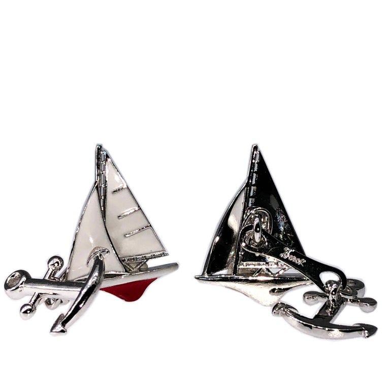 White and Red Sailing Boat Shaped Little Anchor Back Sterling Silver Cufflinks 6