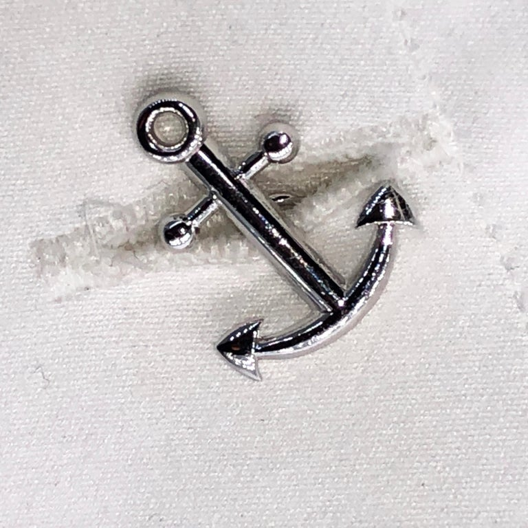 White and Red Sailing Boat Shaped Little Anchor Back Sterling Silver Cufflinks 7