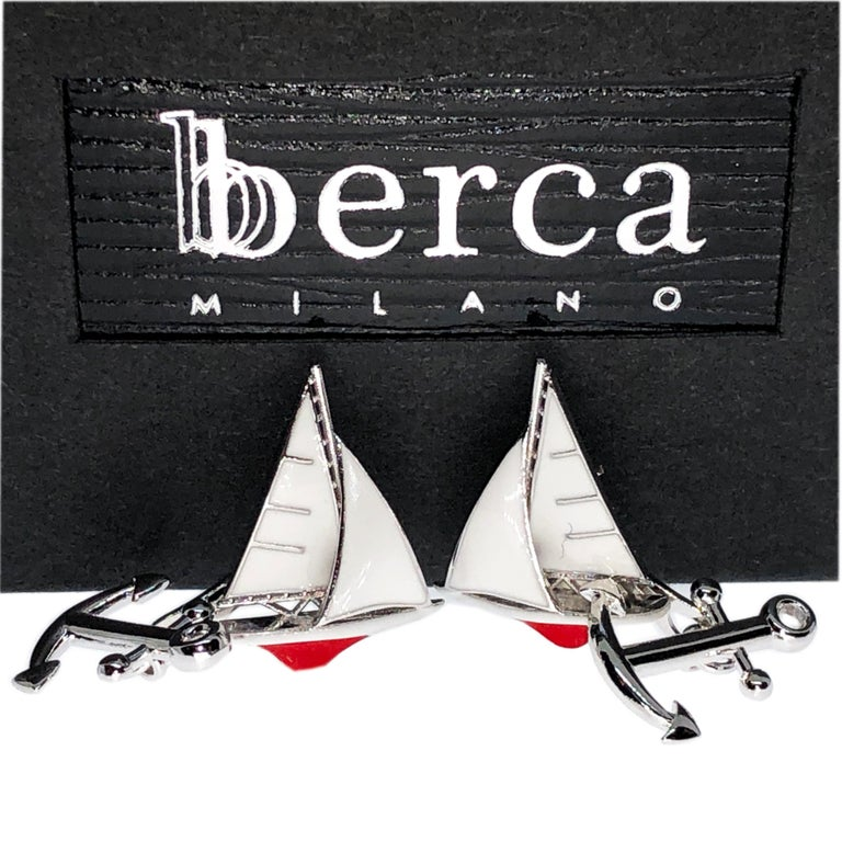Unique, chic yet timeless, White and Red Hand Enameled Sailing Boat, little anchor back, sterling silver cufflinks.  In our smart fitted black box.