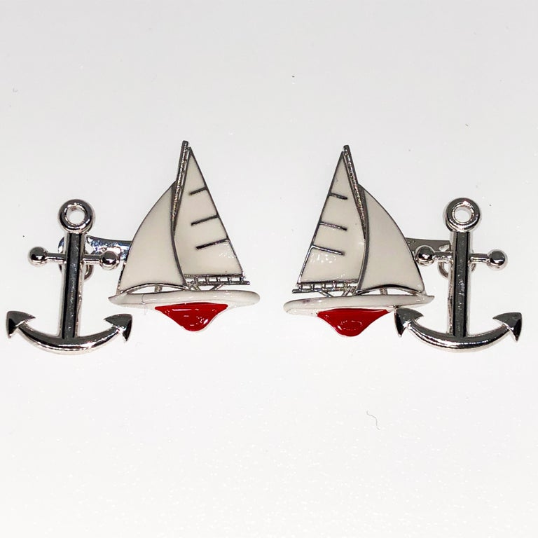 Contemporary White and Red Sailing Boat Shaped Little Anchor Back Sterling Silver Cufflinks