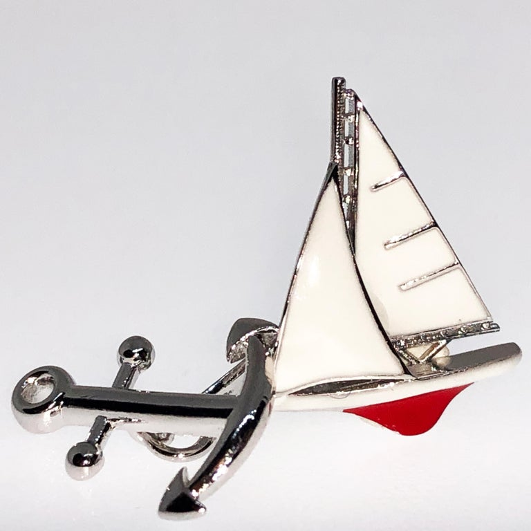 Men's White and Red Sailing Boat Shaped Little Anchor Back Sterling Silver Cufflinks
