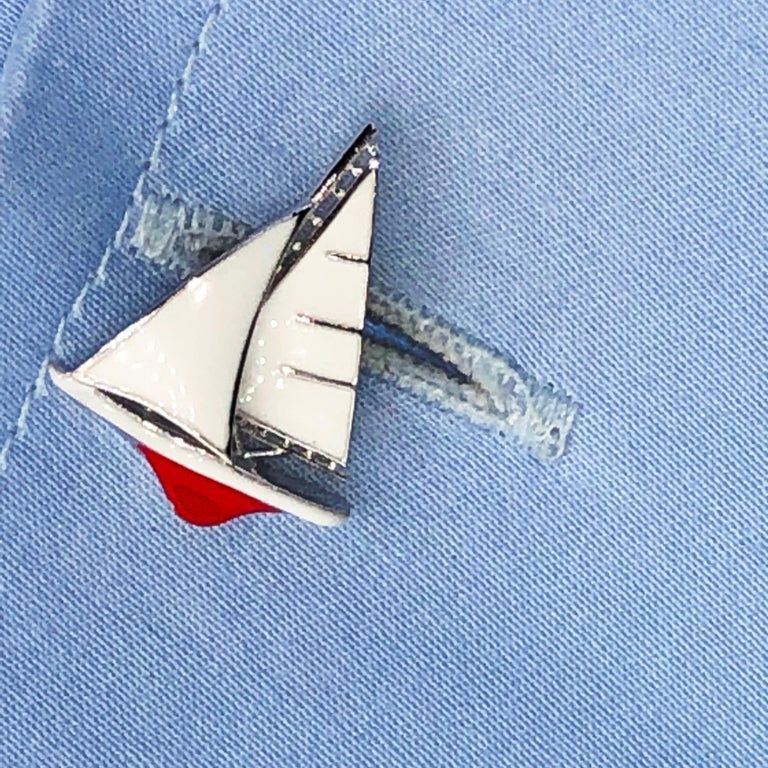 White and Red Sailing Boat Shaped Little Anchor Back Sterling Silver Cufflinks 1