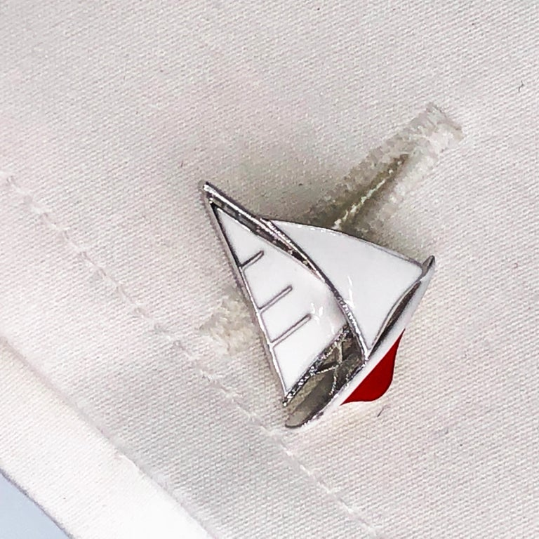White and Red Sailing Boat Shaped Little Anchor Back Sterling Silver Cufflinks 2