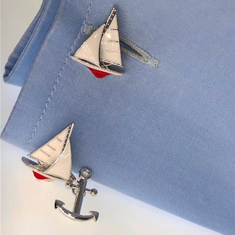 White and Red Sailing Boat Shaped Little Anchor Back Sterling Silver Cufflinks 3