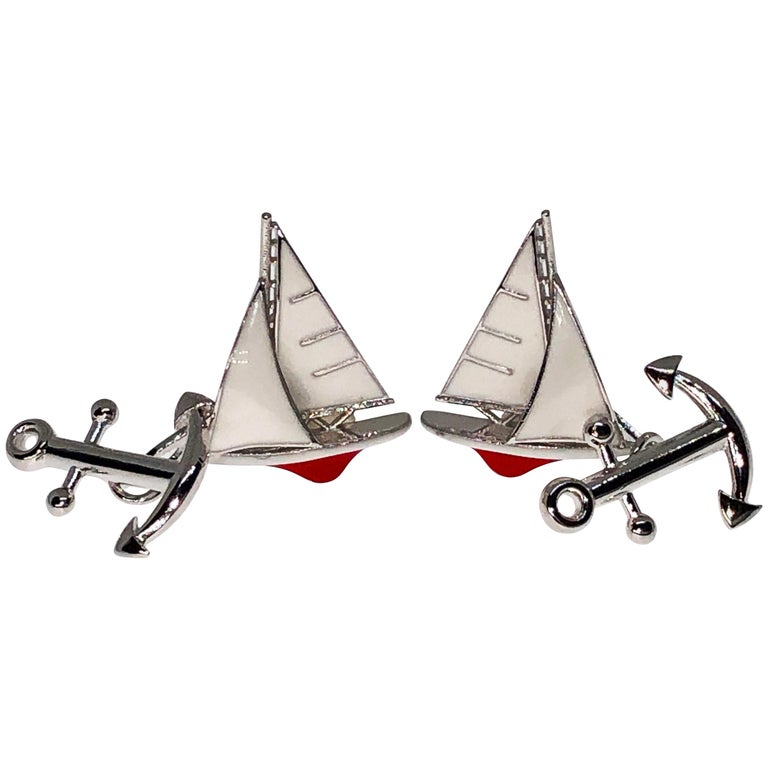 White and Red Sailing Boat Shaped Little Anchor Back Sterling Silver Cufflinks
