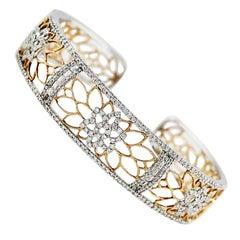 White and Rose Gold Diamond Cuff