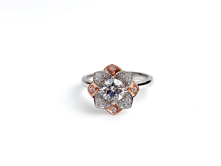 Contemporary White and Rose Gold Diamond Flower Ring For Sale
