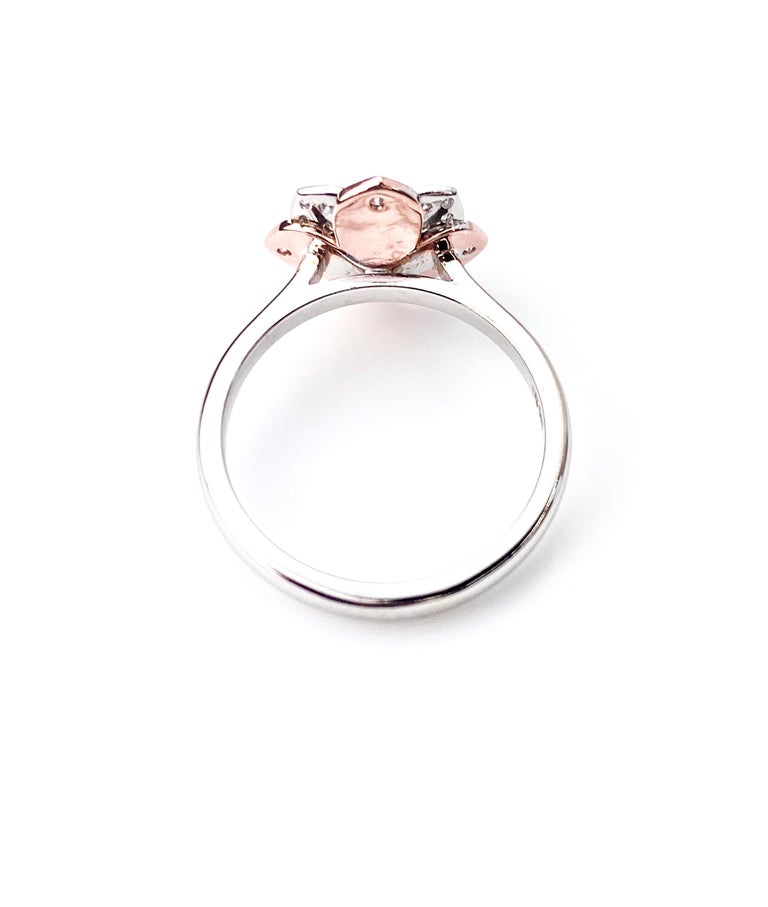 Round Cut White and Rose Gold Diamond Flower Ring For Sale