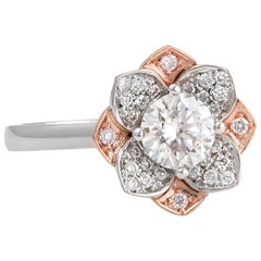 White and Rose Gold Diamond Flower Ring