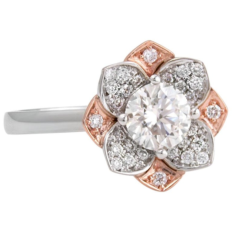 White and Rose Gold Diamond Flower Ring For Sale