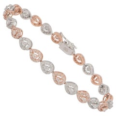 White and Rose Gold Diamond Line Bracelet 2.70 Carat