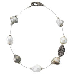 White and Silver South Sea Tahitian Baroque Pearl Diamond Silver Necklace