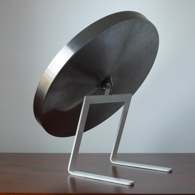 Mid-Century Modern White and Stainless Steel Durlston Circular Vanity Mirror, circa 1968 For Sale