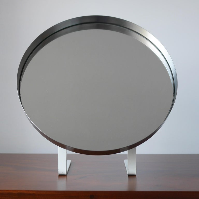 White and Stainless Steel Durlston Circular Vanity Mirror, circa 1968 For Sale 2