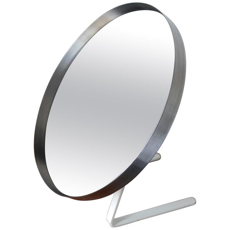 White and Stainless Steel Durlston Circular Vanity Mirror, circa 1968 For Sale