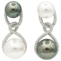 Opposite South Sea Tahitian Cultured Pearl Drop Earrings 1.90 Carats 18K