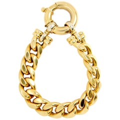 White and Yellow 18 Karat Gold Link Bracelet with