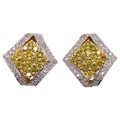 White and Yellow Diamond 14 Karat Yellow Gold Earrings Omega Backs