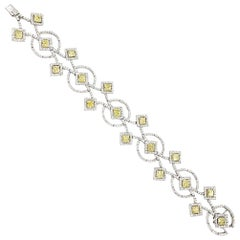 White and Yellow Diamond Art Deco Inspired Bracelet 12.17 Carat
