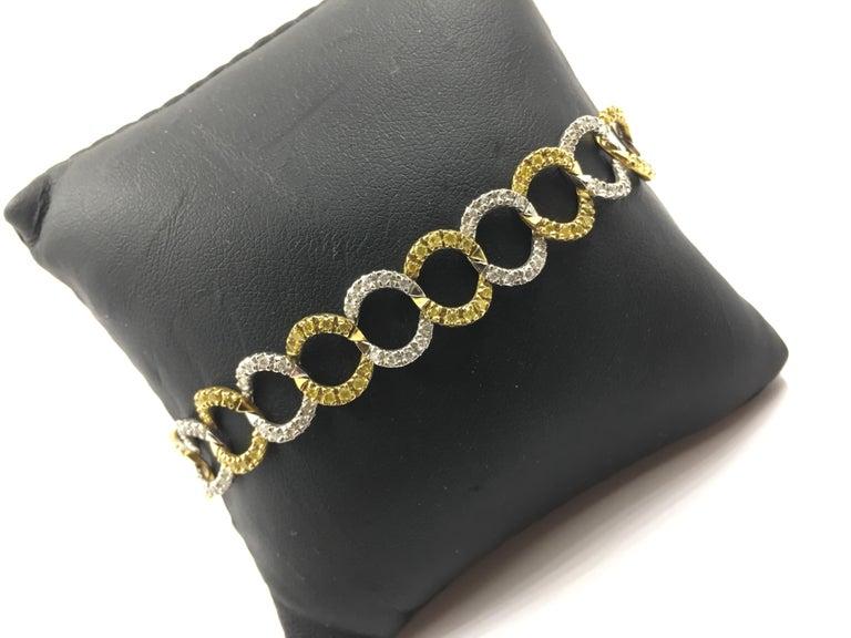 Art Nouveau White and Yellow Diamond Bracelet # 269-10021 For Sale