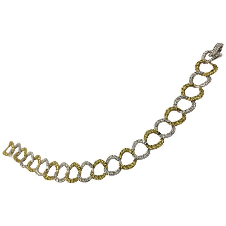 White and Yellow Diamond Bracelet # 269-10021 For Sale