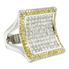 White and Yellow Diamond Large Curved Cocktail Ring by Sasha Primak