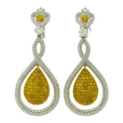 White and Yellow Diamond Tear Drop Gold Earrings