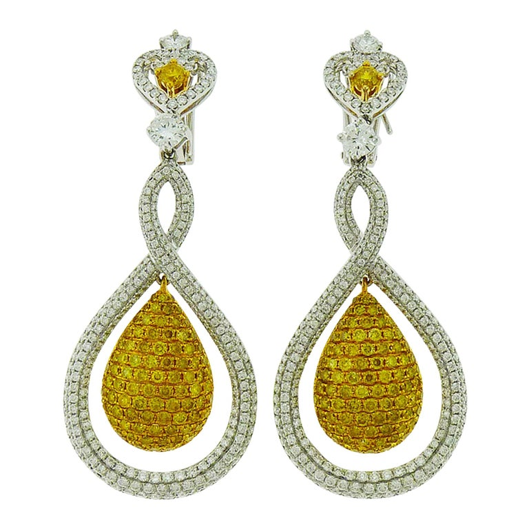 White and Yellow Diamond Tear Drop Gold Earrings For Sale