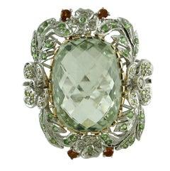 White and Yellow Diamonds Topaz Tsavorite Green Amethyst Cluster  Gold Ring