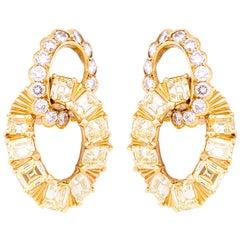 White and Yellow Diamonds VCA Drop Earrings