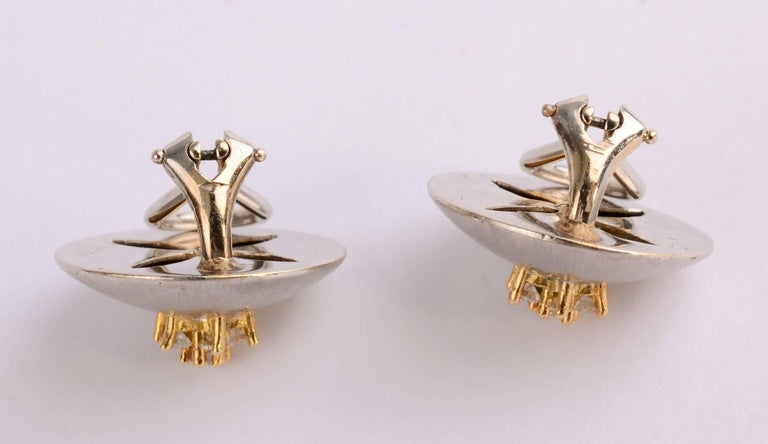 White and Yellow Domed Gold Earrings with Diamonds In Excellent Condition For Sale In Darnestown, MD