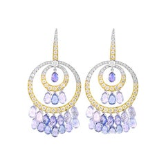White and Yellow Gold Blue Sapphire and Diamond Earrings, 44.17 Carat