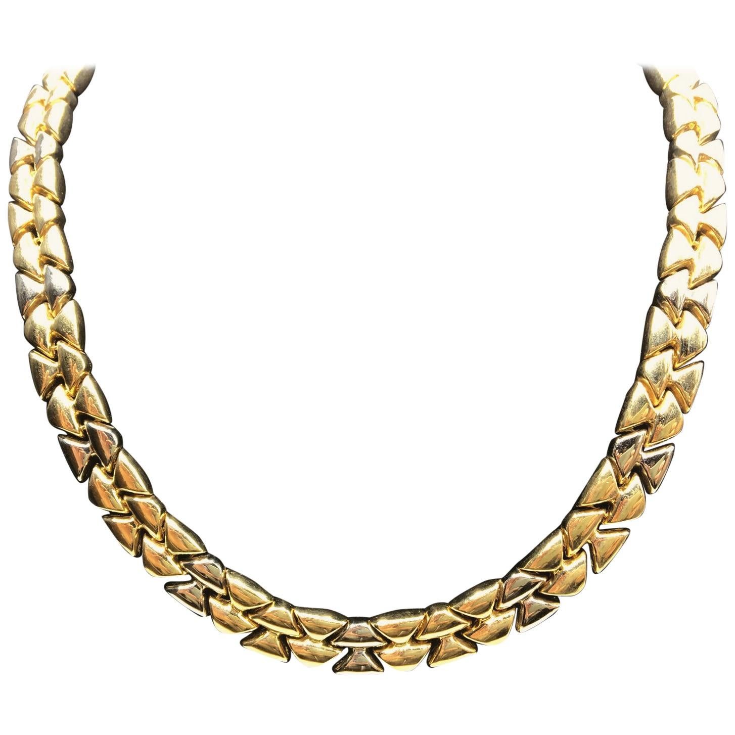 White and Yellow Gold Choker Necklace