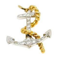 White and Yellow Gold Diamond Anchor Charm Pendant