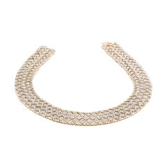 White and Yellow Gold Diamond Collar Necklace
