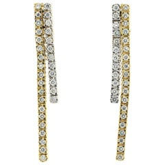 White and Yellow Gold Drop Earrings Set with White Diamonds