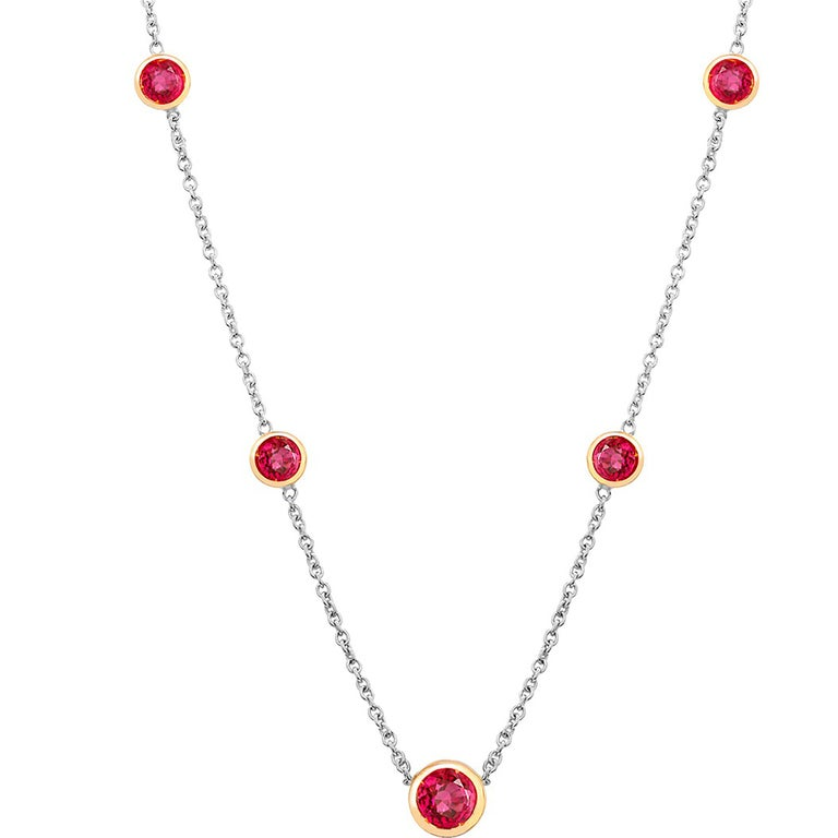 Round Cut White and Yellow Gold Five Burma Red Ruby Bezel Pendant Necklace For Sale
