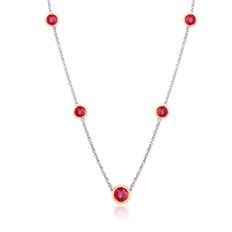 White and Yellow Gold Five Burma Red Ruby Bezel Pendant Necklace In New Condition For Sale In New York, NY