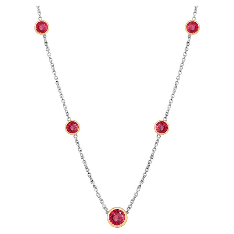 White and Yellow Gold Five Burma Red Ruby Bezel Pendant Necklace For Sale